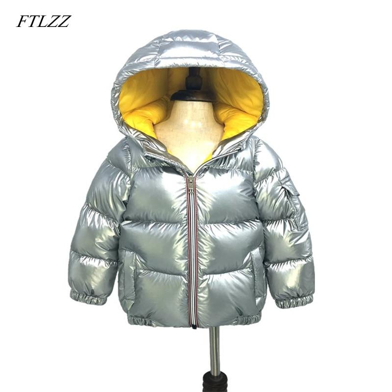 FTLZZ зимой с капюшоном дети серебро вниз куртка для мальчиков Куртка на белом утином пуху для девочек Детские Сгущает теплая верхняя одежда з...