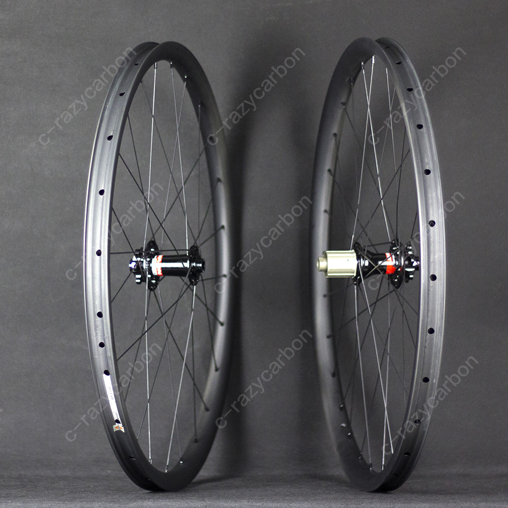 Asymmetric MTB Carbon Wheelset XC Wheels Hookless Offset Rim Clincher Tubeless Compatible 29ER/27.5ER(650b) factory direct mountain bike clincher wheelset 29 inch 27 5er carbon mtb wheels 29er 650b carbon mtb wheels tubeless rims