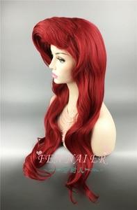 Image 3 - Парик для косплея маленькой Русалочки Ариэль, термостойкие волнистые искусственные волосы для костюма принцессы, с шапочкой