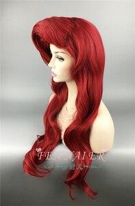 Image 3 - The Little Mermaid Parrucche Dellonda Del Corpo Mossi Principessa Ariel Cosplay Resistente Al Calore Parrucca di Capelli Sintetici del Costume Parrucche + Protezione Della Parrucca