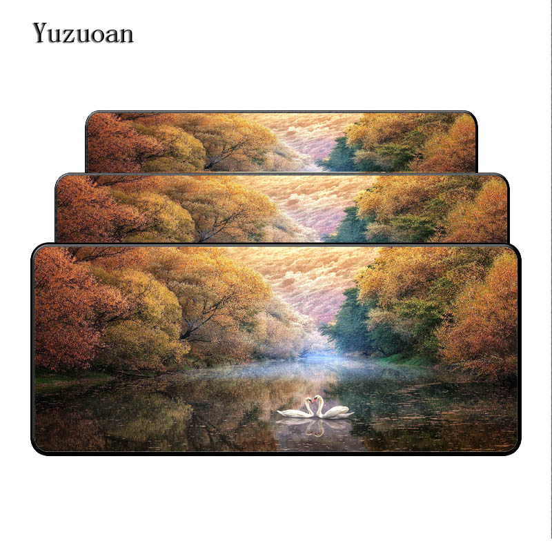 Yuzuoan 900*400*3mm Free Shipping Beautiful Tree Scenery Notbook Computer Large Overlock Mousepad Gaming Laptop Table Cup Mat ...