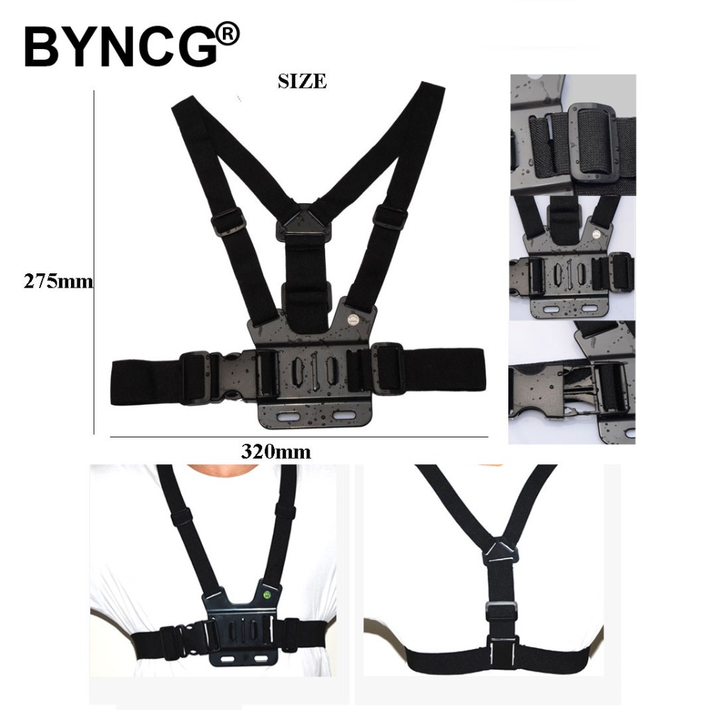 BYNCG Accessories Adjustment Harness Chest Strap Mount belt for hero 654321 Xiaomi yi 4K Action Camera Cam Black Edition f88 action camera black