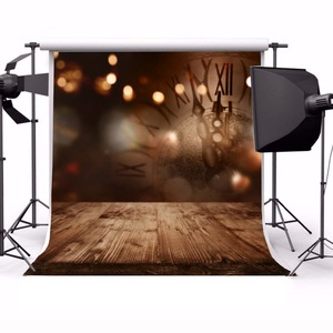 Image 2 - Laeacco לשנה טובה המפלגה Photophone שעון אור Bokeh עץ רצפת צילום תפאורות תינוק יילוד רקע צילום נכס