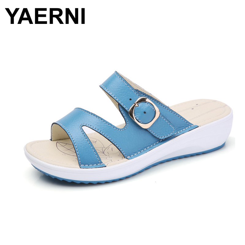 YAERNI   2017 Summer women flat sandals Shoes black white beach slippers round toe comfortable sandals flip flops female shoes summer leisure slippers slip on round toe comfortable sandals women flat sandals casual flip flops female shoes