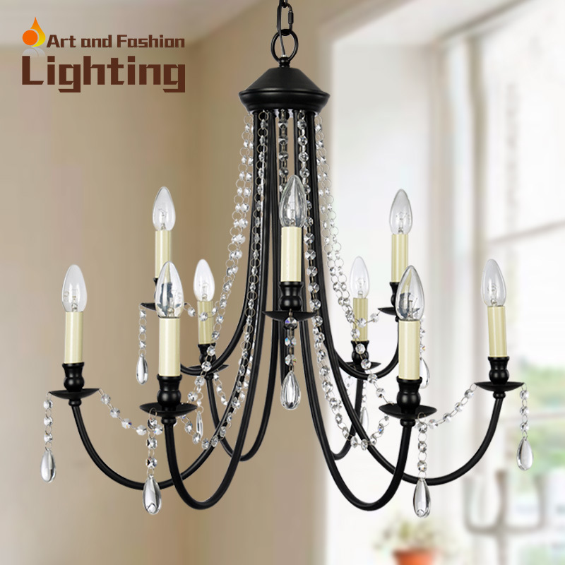 Vintage Black Wrought Iron And Crystal Chandeliers Clical Candle Living Dining Room Lights In From Lighting On Aliexpress