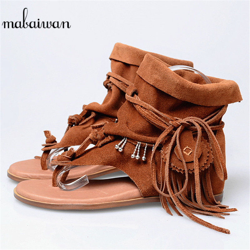 Mabaiwan Brown Tassels Women Gladiator Sandals Height Increased Flip Flops Shoes Woman Casual Beach Shoes Leather Wedge Flats mabaiwan new women genuine leather gladiator sandals flip flops rope fringe lace up flats shoes woman casual beach zapatos mujer