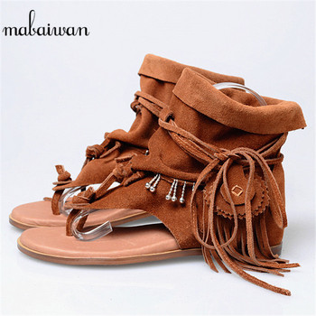 Mabaiwan Brown Tassels Women Gladiator Sandals Height Increased Flip Flops Shoes Woman Casual Beach Shoes Leather Wedge Flats