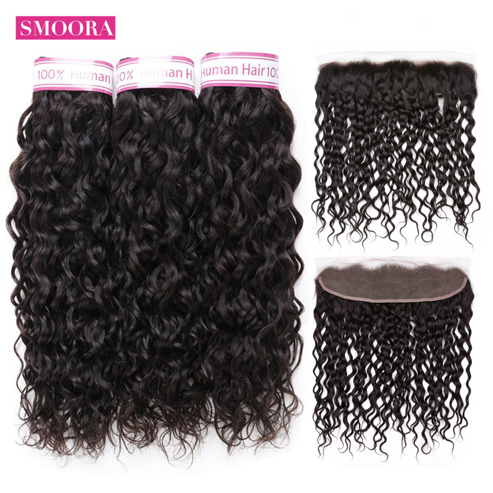 Smoora Malaysian Water Wave Bundles With Frontal Closure Human Hair Bundles With Frontal Closure Non Remy Hair Weave Extensions