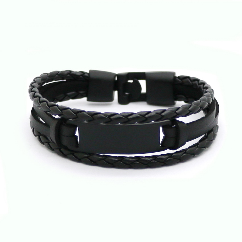 Janeyacy 2017 кожаный браслет и веревочные браслеты черного