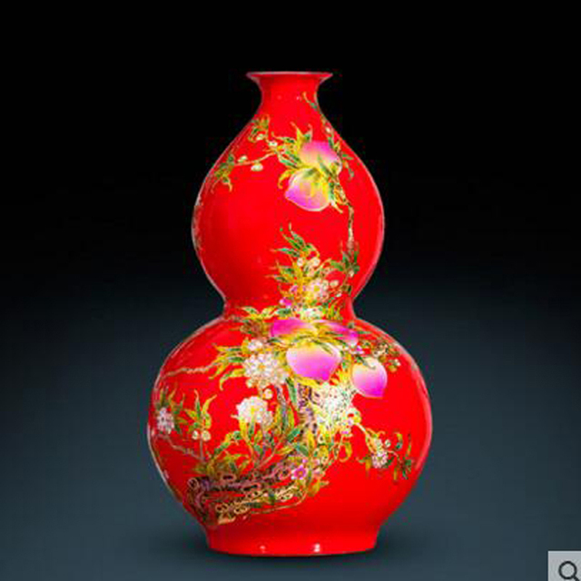 Ceramic Red Gourd Vase Large Chinese Home Living Room Decoration