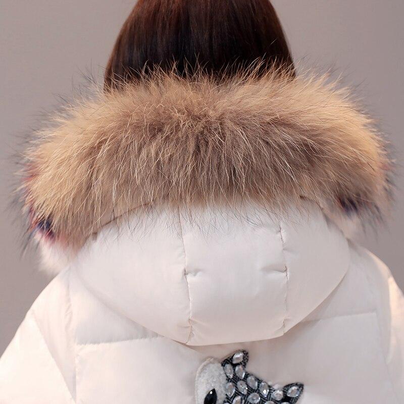 Vers Grand Capuchon Le À Fourrure Duvet Doudoune Vestes Femme white Veste Bas Blanc De Canard Creamy Hiver Col Manteau Longue 2018 Femmes Chaud Épaississent z8UUqX