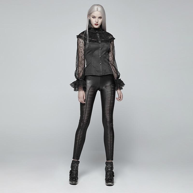 PUNK RAVE Neue Gothic Teufel Fußabdrücke Schwarz Frauen Leggings Mode Aushöhlen Punk Stretchy weibliche Dünne Sexy Dark Hosen - 6