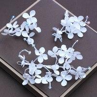 3pcs/set Handmade Headband Hair Clips for Bridal Wedding Ornament White Fabric Flower Fashion Barrettes Girls Pageant Headdress