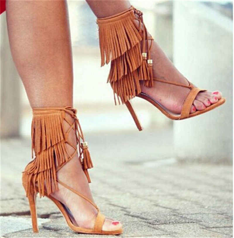 61e647b7e6d US $83.05 45% OFF|Black Grey Suede Summer Sandals Ankle Tie Fringe Women  Sandals High Heels Gladiator Sandals Women Shoes Woman Sandalias Mujer-in  ...