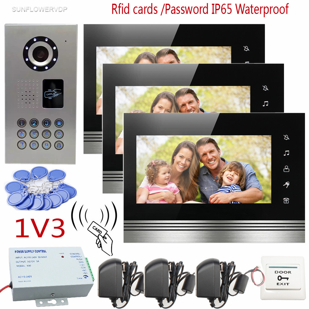 Touch Keys Video Door Phone Intercom Support IP65 Waterproof Home Securitry CCD Camera 7 Color 3 Screens Support Rfid/Password the black keys the black keys el camino 2 lp
