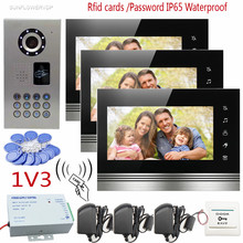 Touch Keys Video Door Phone Intercom Support IP65 Waterproof Home Securitry CCD Camera 7″ Color 3 Screens Support Rfid/Password