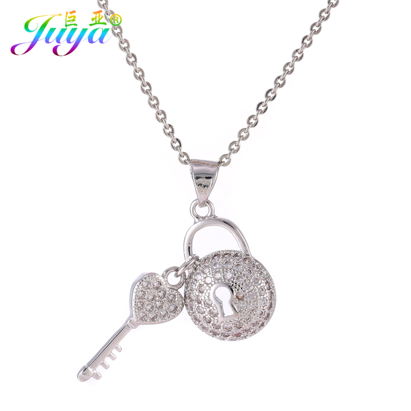 Aliexpress Fashion Jewelry Supplies Gold/Rose Gold Heart Shape Key Locket Suspension Charm Pendant Gold Chains Pendant Necklaces locket