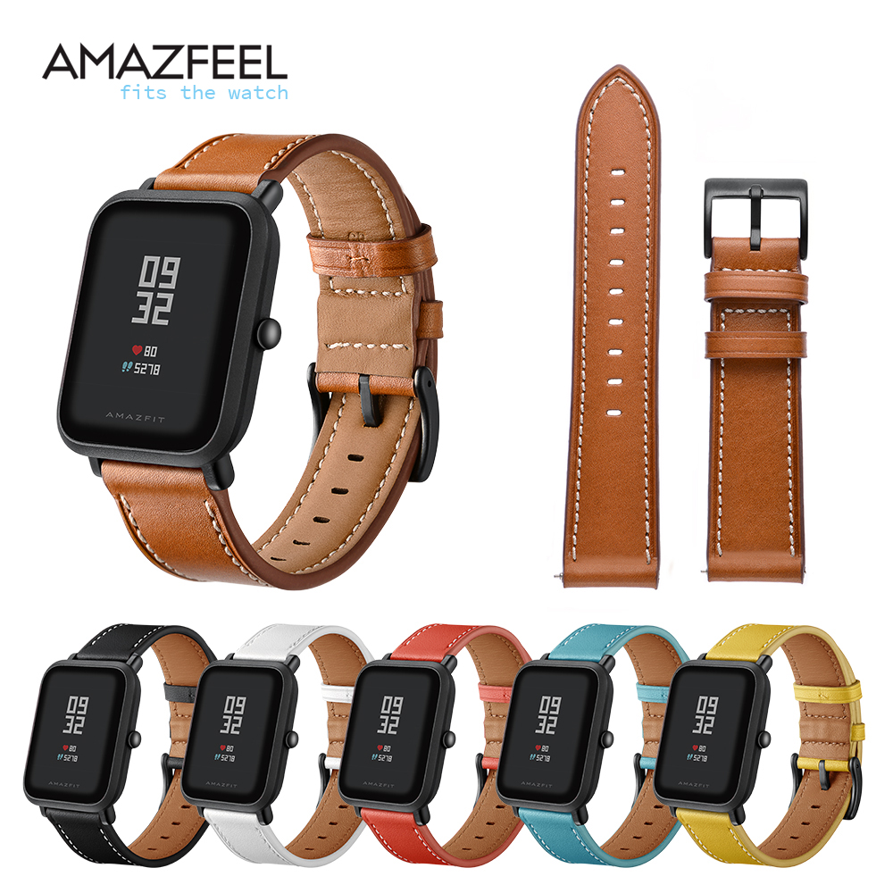 AMAZFEEL 20mm Genuine Leather Strap for Xiaomi Huami Amazfit Bip BIT Smart Watch Bracelet for Xiaomi Amazfit Band Strap 6 Colors