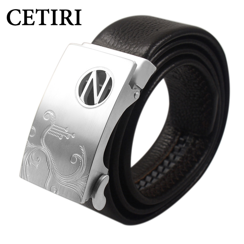 CETIRI 2018 Men Cow Full Grain Genuine Leather Belts For Men High Quality Ratchet Stainless Steel Automatic Belt Cinto Masculino