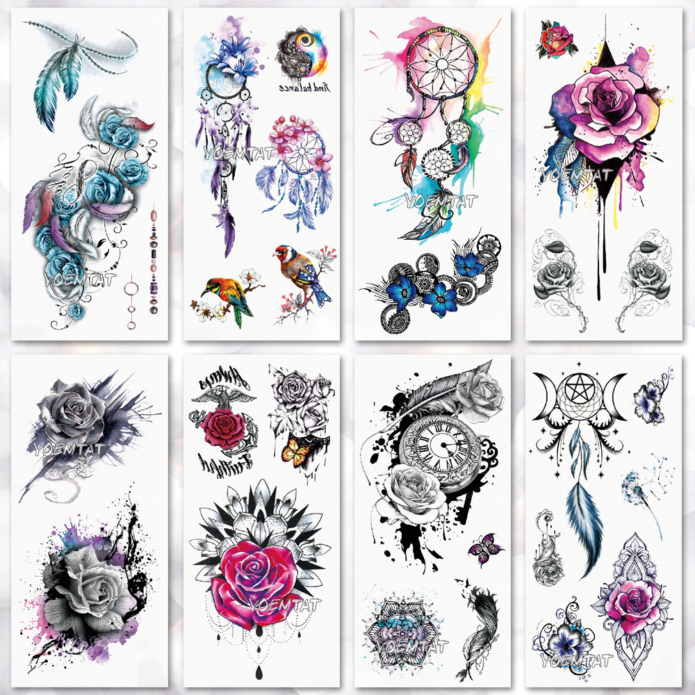 Drawing Rose Geometic Temporary Tattoo Watercolor  Tattoo Stickers Beach Flower Women Girls Body Chest Hand Legs Tatoo Decal