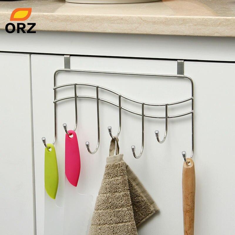 ORZ 7 Hooks Kitchen Cabinet Door Hook Hanger Rack Bathroom ...