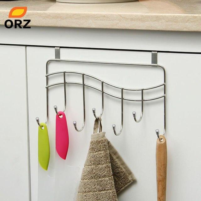 Orz 7 Hooks Kitchen Cabinet Door Hook Hanger Rack Bathroom Storage
