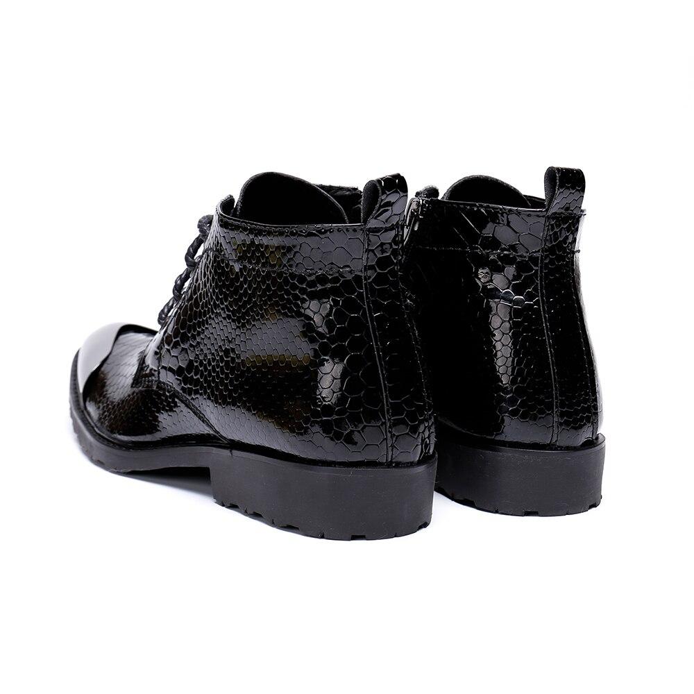 Christia bella marca botas masculinas estilo britânico rendas até botas de vestido formal festa de negócios sapatos masculinos botas de tornozelo de couro genuíno - 5