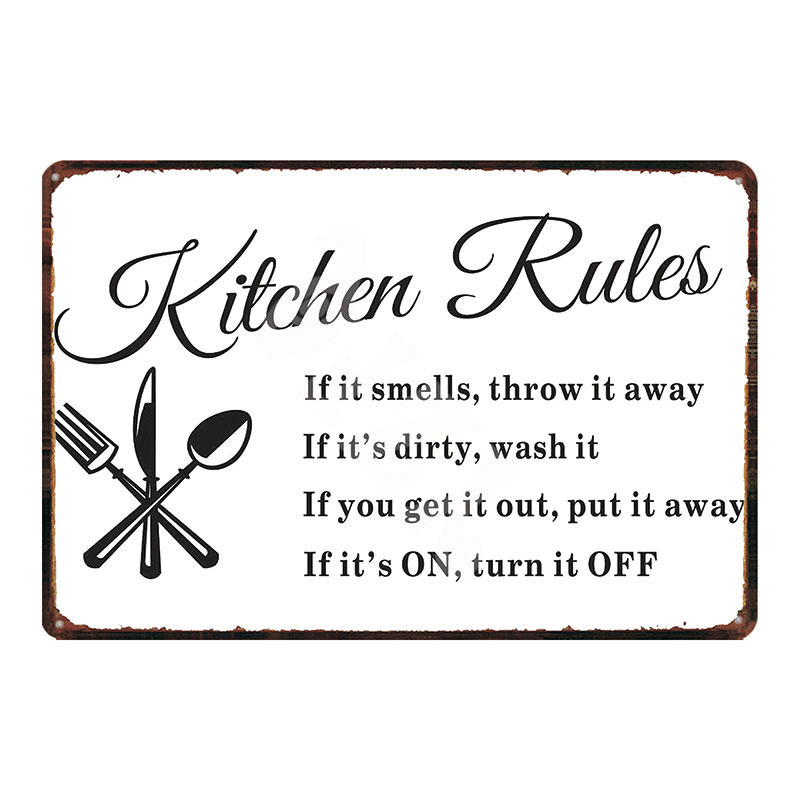 Kitchen Rules Retro Tin Sign Shabby Chic Metal Plates For Wall Cafe Kitchen Retro Home Craft Decor Metal Poster DU-2126