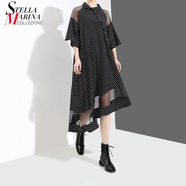 New 2018 Women Summer Black Asymmetrical Dress Polka Dots Mesh Patchwork Half Sleeve Girls Stylish Party Club Wear Dresses 3632