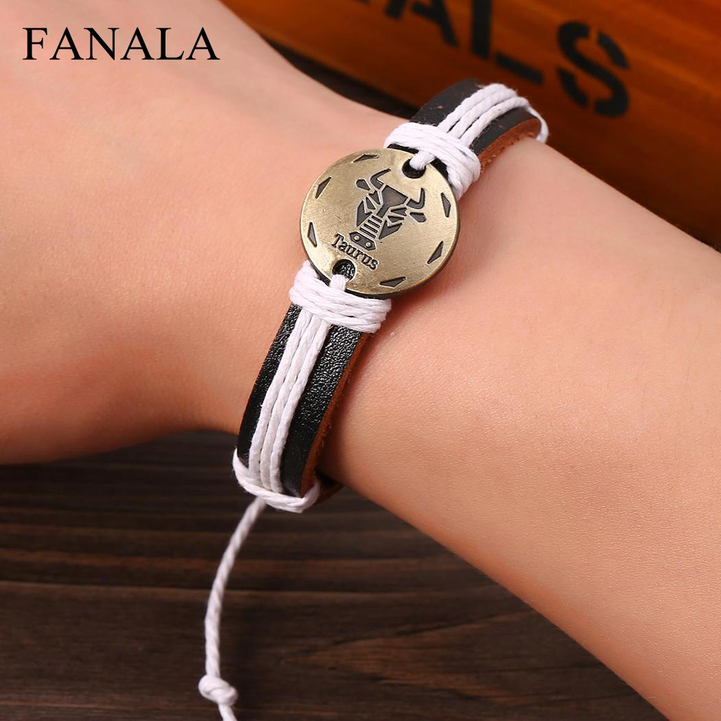 FANALA Bracelet Women Adjustable Rope Synthetic Leather Constellations Bracelets Men Birthday Unisex Gift