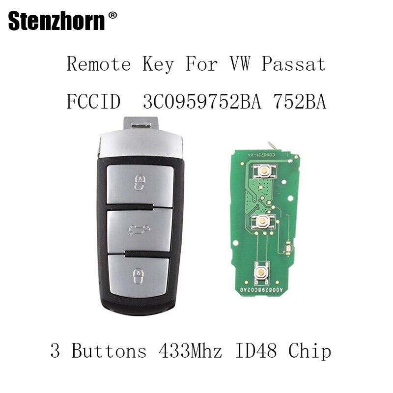 Stenzhorn 3Buttons Complete Remote Key DIY 433MHZ For VW VOLKSWAGEN PASSAT CC MAGOTAN 3C0959752BA For VW 3C0 959 752 BA коврик для приборной панели авто 1 5d vw magotan volkswagen magotan 5d