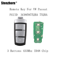 Stenzhorn 3Buttons Complete Remote Key DIY 433MHZ For VW VOLKSWAGEN PASSAT CC MAGOTAN 3C0959752BA For VW