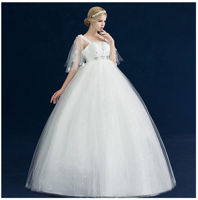 Pregnant Woman Wedding Dress Wedding Ball Gown With Puff Sleeve