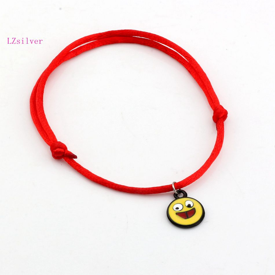Hot ! 2pcs White Enamel expression laugh face Charms Red String Good Luck Adjustable Bracelets kl10