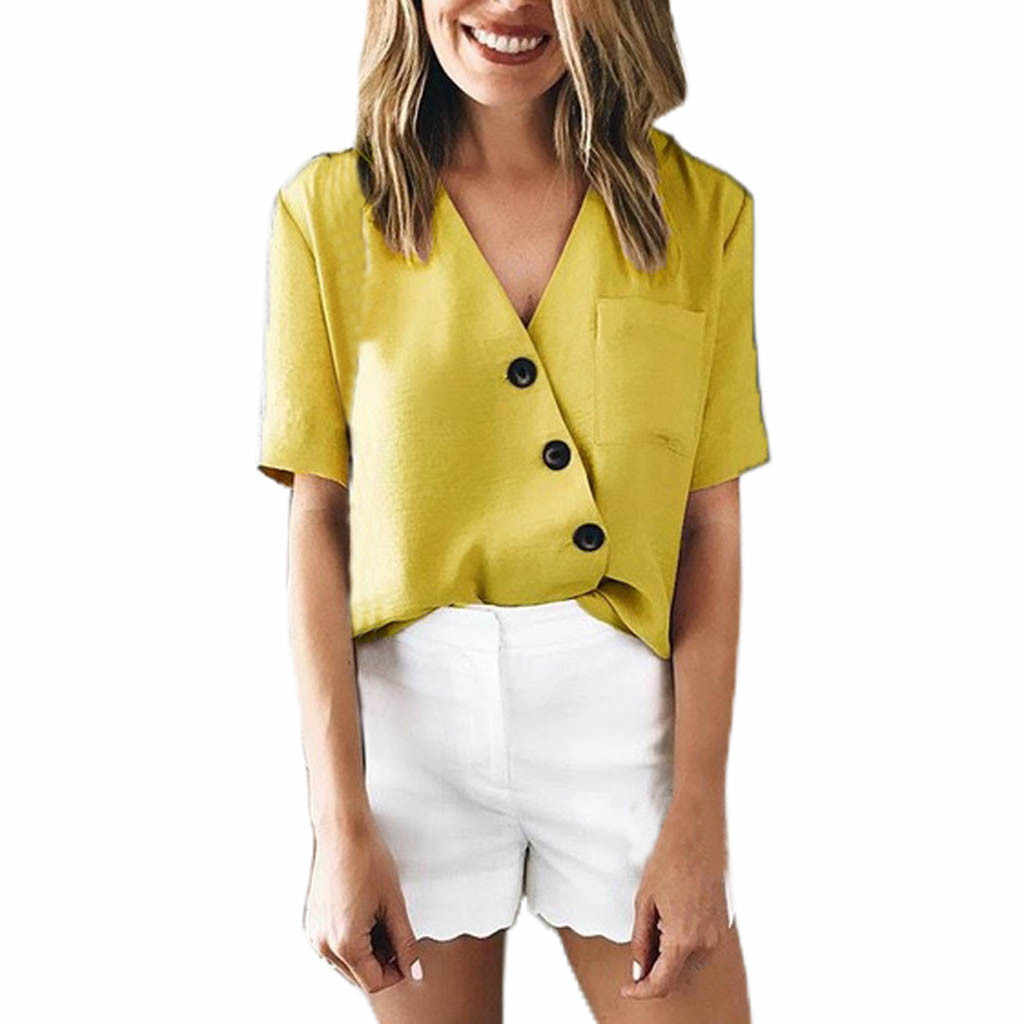 2019 NEW Hot Fashion Womens Button V-neck Short Sleeve Blouse Causal Top Shirt Blouse куртк Wholesale T3