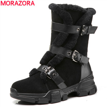 MORAZORA black top quality ankle boots for women genuine leather winter boots fashion flat shoes woman punk Motorcycle boots