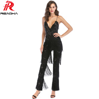 Sexy Women Summer Gold white black pink Sequins rompers womens jumpsuit fashion Backless Bandages Tassel bodysuit Overalls 2018