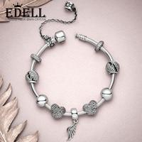 EDELL 100% Серебро 925 пробы 1:1 ангельские шикарные перья Красивая подвеска любовь вышитый бисером кулон модный браслет подарочный набор