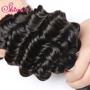 Image 5 - Shireen מלזי עמוק גל חבילות עם סגירת רמי שיער טבעי וויבס 3/4 חבילות עסקות עם תחרה 4*4 סגירת שיער הארכת