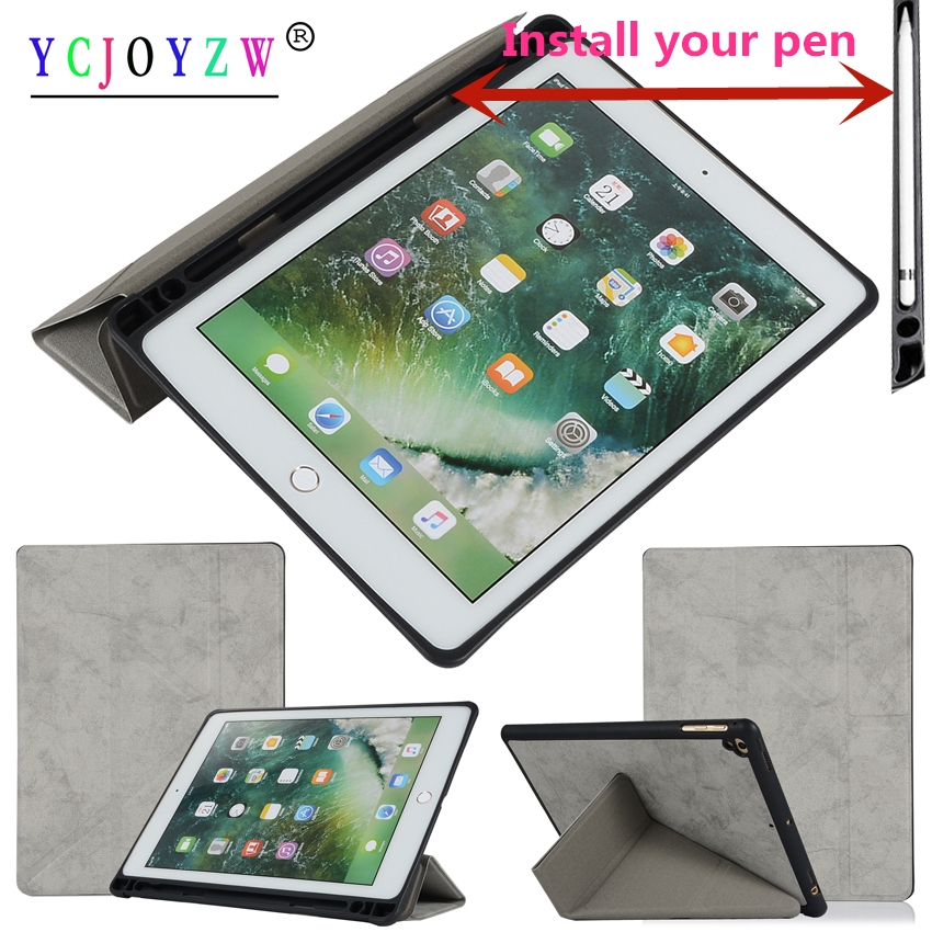 Case Smart Cover For Apple New iPad 9.7 inch (2017/2018)/Pro 9.7/Air 1/Air 2. PU leather+silicone Pen tray Tablet case-YCJOYZW for apple ipad pro 12 9 2017 case fashion retro pu leather cases for ipad pro new 12 9 2017 tablet smart cover case pen