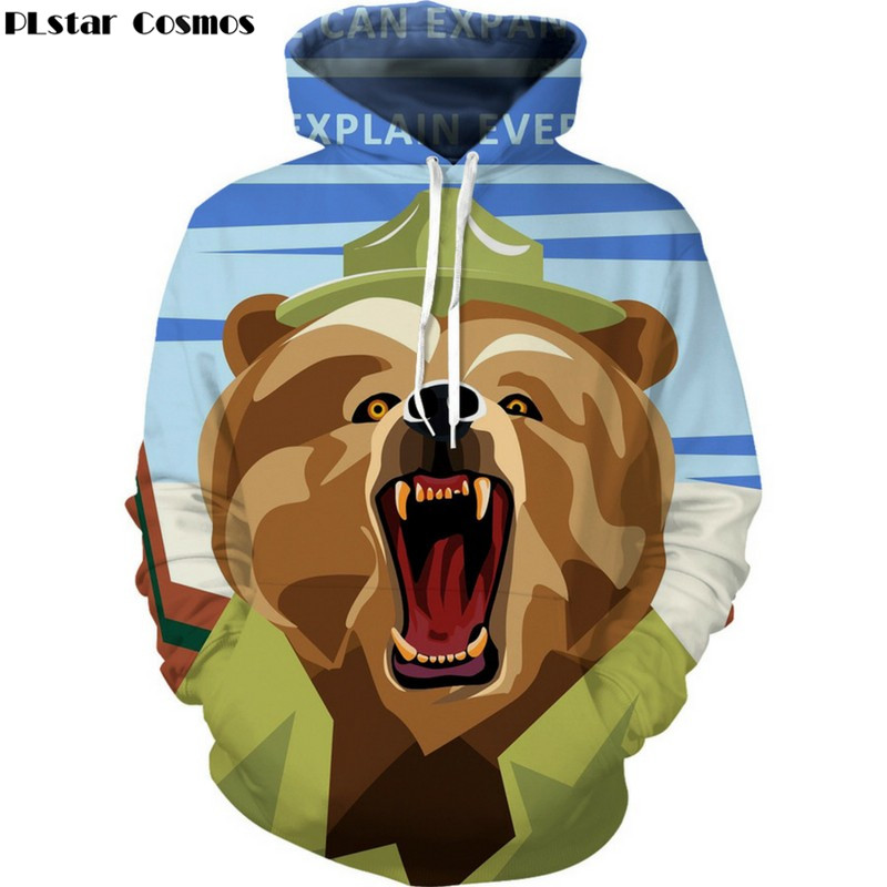 PLstar Cosmos Mr. Brown Bear fierce Hoodies Sweatshirts men/women 3D Print Hooded Sweats Tops Streetwear Unisex Pullover