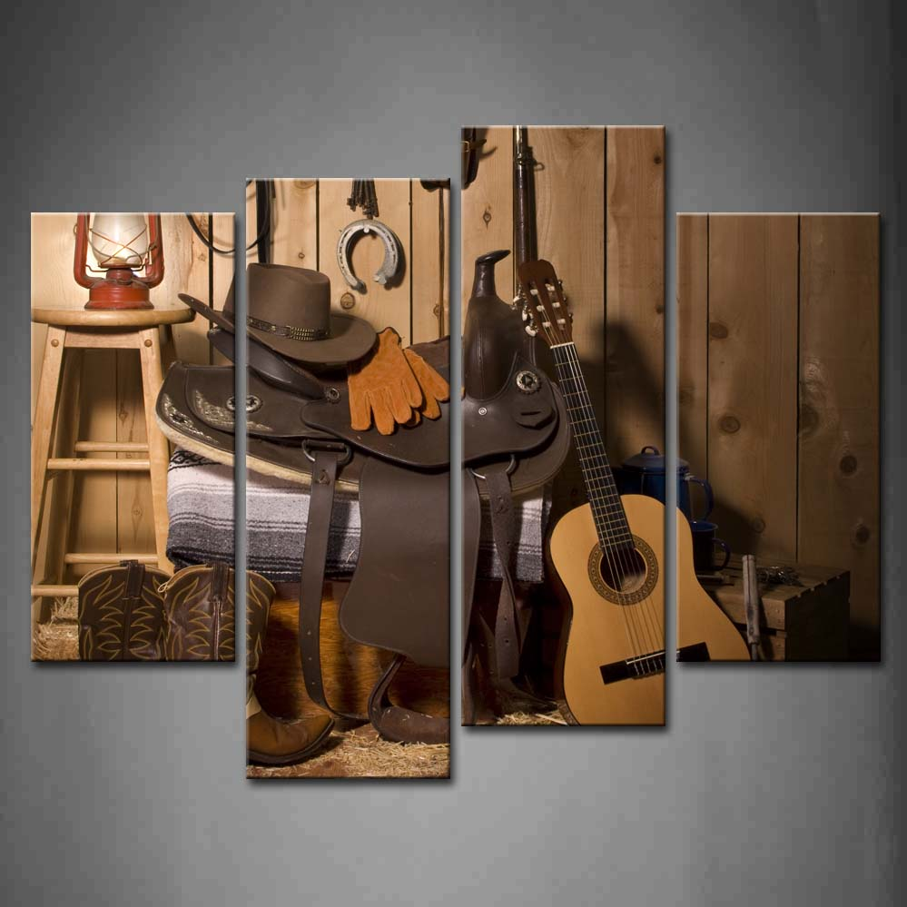 4 Panels Unframed Wall Art Pictures Cowboy Paraphernalia Barn Canvas Print Modern Still Poster No Frame For Living Room