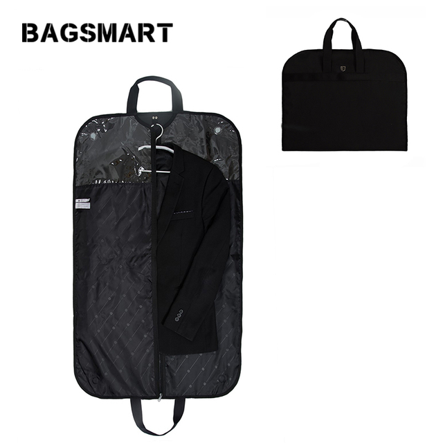 BAGSMART Lightweight Black Nylon Suit Bag Business Dress Garment Bags Clamp Waterproof Suit Bag Men's Suit Travel Bag