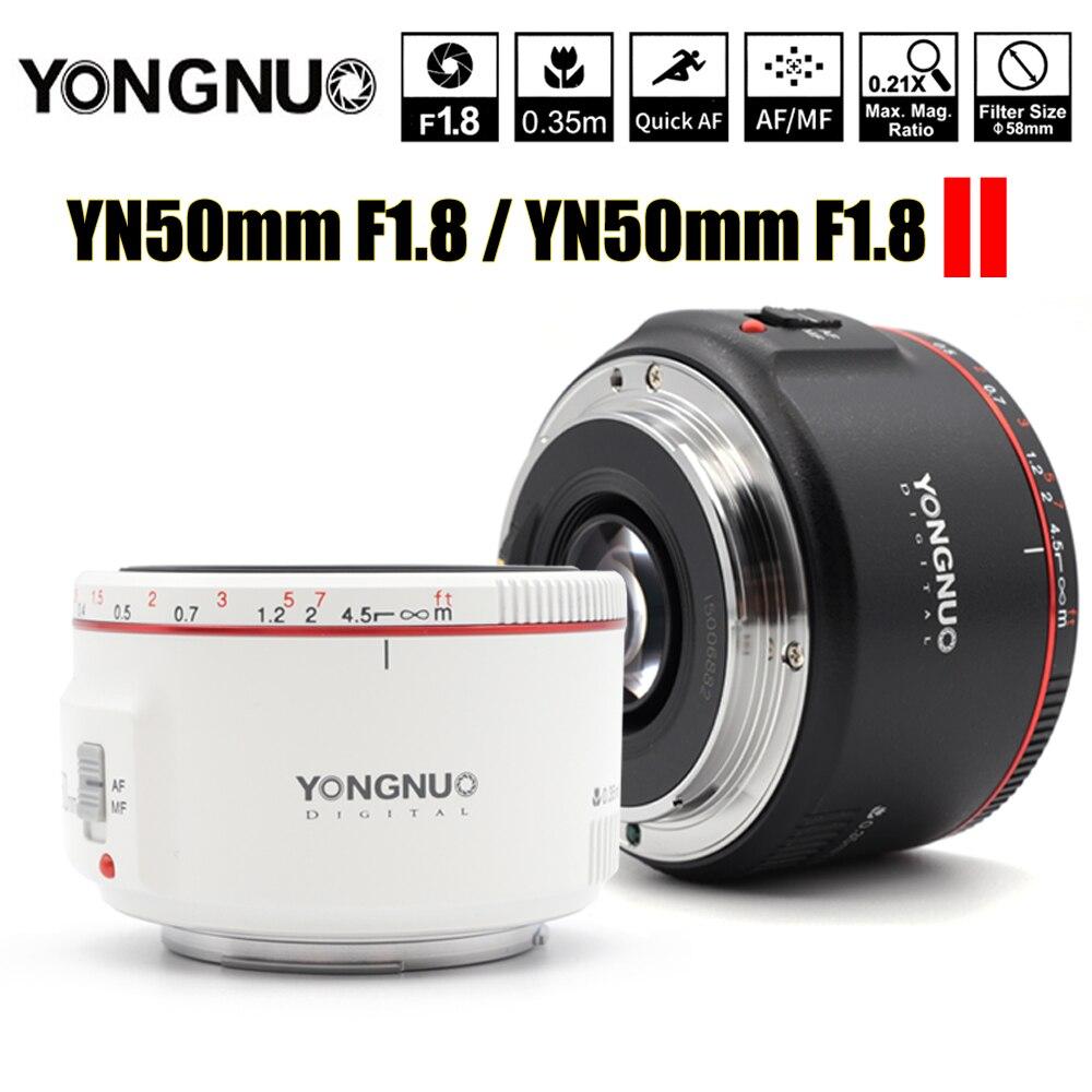 Lentille de mise au point automatique à grande ouverture blanche YN50mm F1.8 II YONGNUO pour objectif de caméra à effet Bokeh Canon EOS 70D 5D2 5D3 DSLR