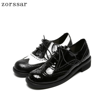 Retro Brogue Genuine Leather Woman Oxford Shoes British Style Vintage Cut-Outs Flat Shoes Casual Oxford Shoes for Women