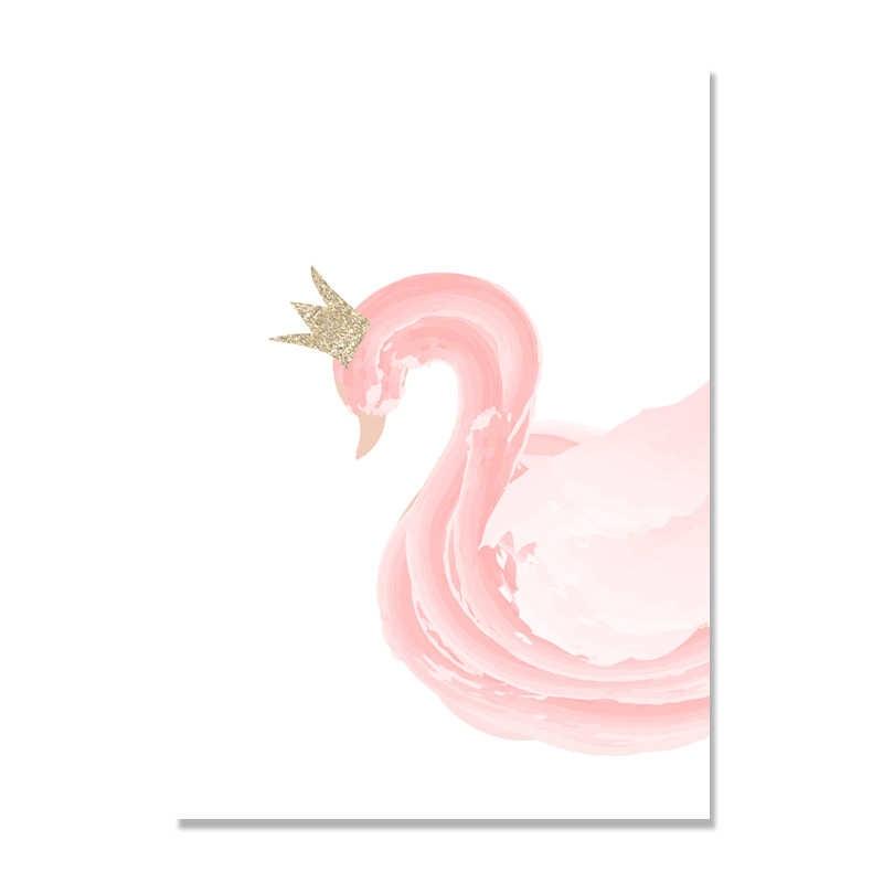 Abacaxi rosa ballet menina cisne parede imagens do quarto da menina do bebê decoração pena pintura da arte da parede lona cartaz nórdico princesa