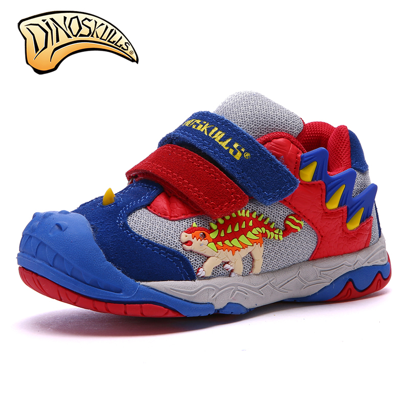 Dinoskulls 2018 Boy Sports Shoes LED Breathable Shoes Sneakers New Children Fashion3D Dinosaur Anti-skid Shoes Aize #27-34 dinoskulls new kids sport shoes children sneakers breathable leather boy running shoes 2018 girls leisure casual shoes