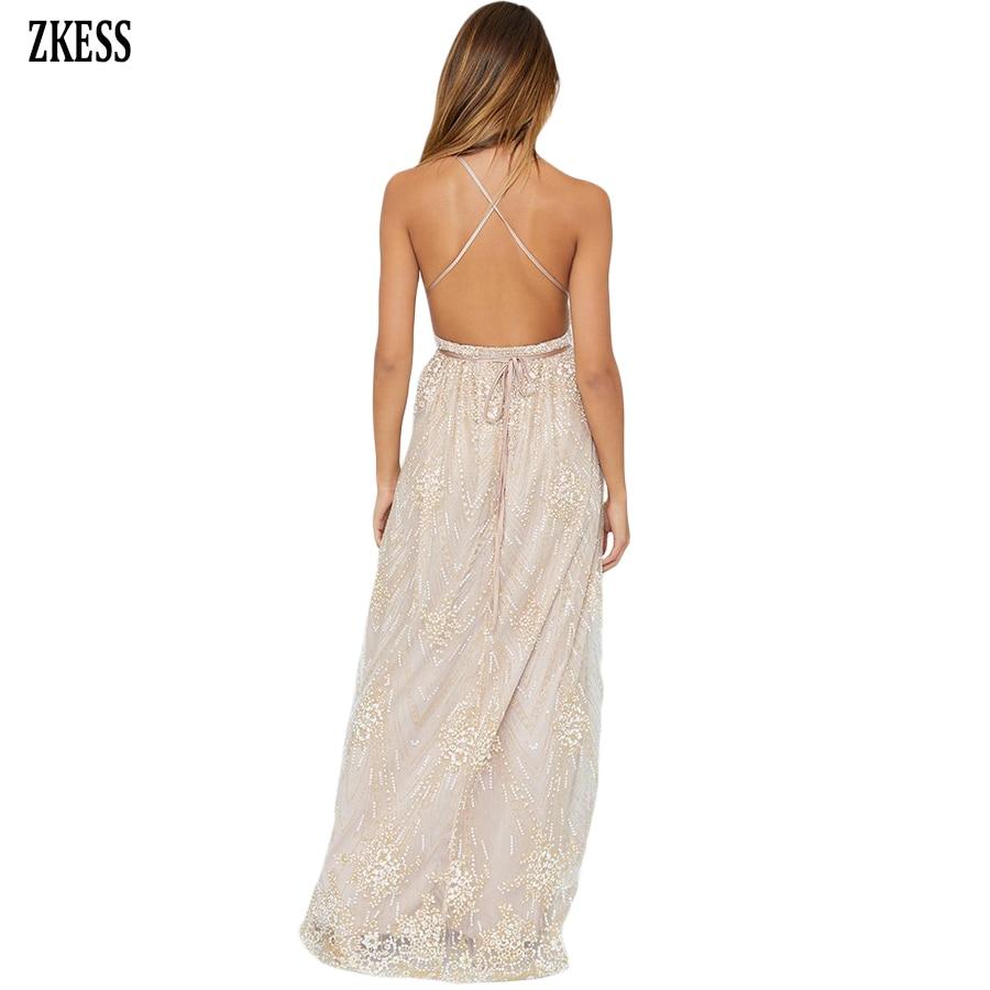 Zkess Women Daring Open Back Glittering Party Long Dress Sexy Deep V Neck  Mesh Hollow Out Slit Sleeveless Maxi Dress LC610534-in Dresses from Women s  ... 0e50ff5608ca