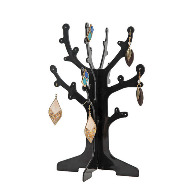 Plastic Jewelry Storage Display Rack Organizer Shelving Tree Branch Shape Earring Holder With Hole