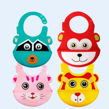 Baby Bibs Cute Cartoon Pattern Silicone Bib Burp Cloths Waterproof Pocket Childrens Saliva Towel Feeding